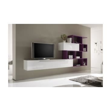 meuble tv mural valeriano prune achat vente meuble tv meuble tv mural valeriano. Black Bedroom Furniture Sets. Home Design Ideas