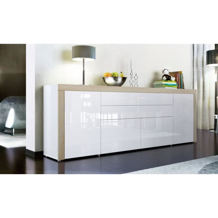 buffet enfilade blanc au contour bois brut 200 cm achat vente buffet bahut buffet enfilade. Black Bedroom Furniture Sets. Home Design Ideas
