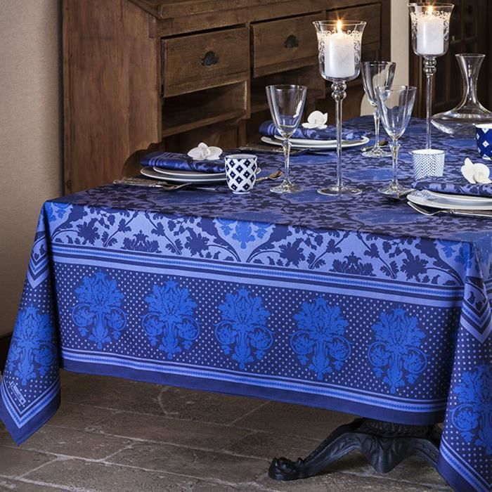 nappe carr e toscane bleu achat vente nappe de table cdiscount. Black Bedroom Furniture Sets. Home Design Ideas