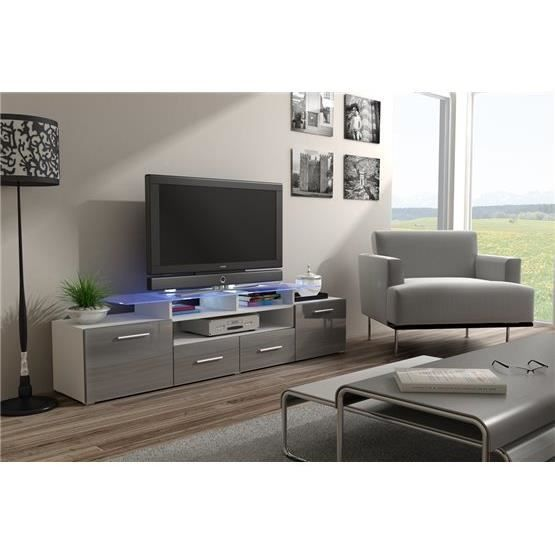 meuble tv design evori blanc et gris achat vente. Black Bedroom Furniture Sets. Home Design Ideas