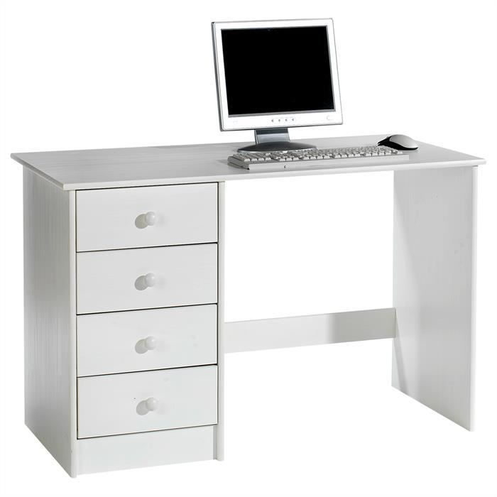bureau multi rangements pin massif lasur blanc achat. Black Bedroom Furniture Sets. Home Design Ideas