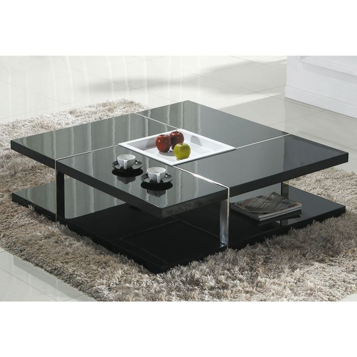 La table basse laqu e noire design corbeille achat vente table basse - Table basse luxe design ...