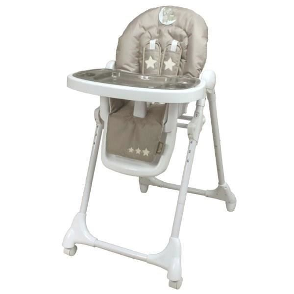 Looping chaise haute t lescopique lune c line taupe et for Chaise haute bebe