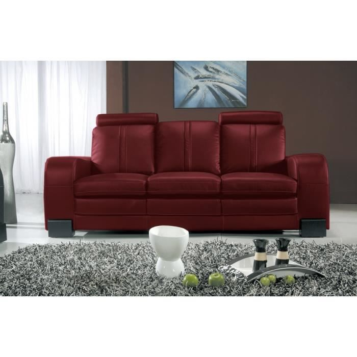 canap 3 places en cuir italien rosso achat vente. Black Bedroom Furniture Sets. Home Design Ideas