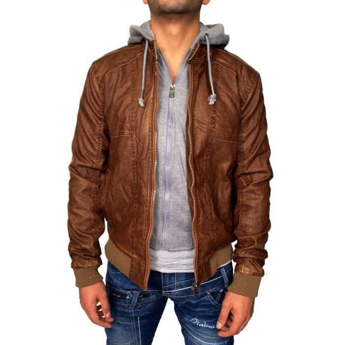veste simili cuir homme neuf capuche doublure amov marron achat vente blouson cdiscount. Black Bedroom Furniture Sets. Home Design Ideas