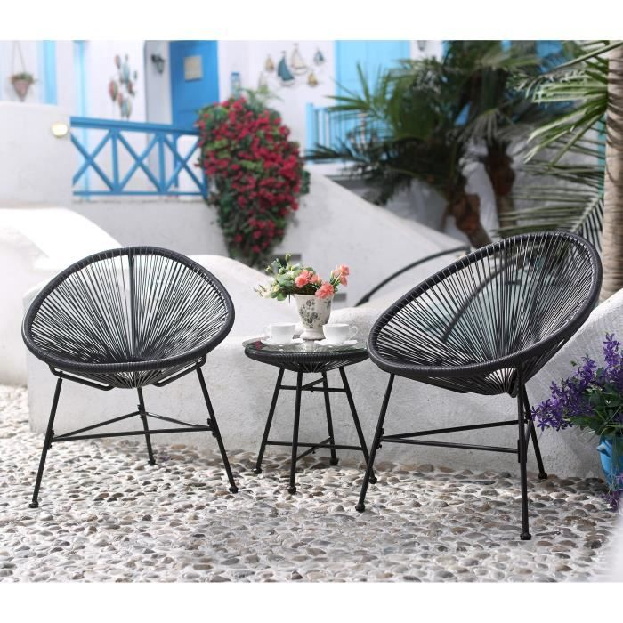 Salon de jardin gris 2 fauteuils oeuf table basse - Achat ...