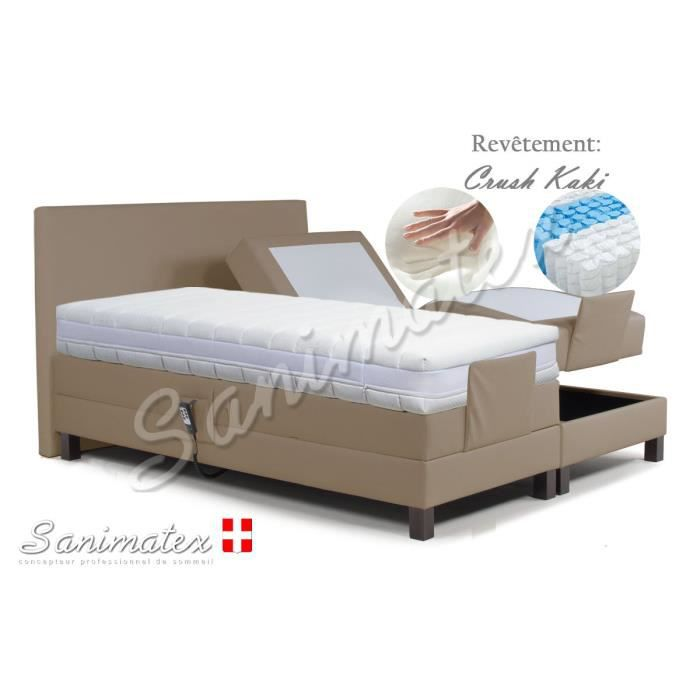 lit electrique boxspring 180x200 vesuvio amazonia beige achat vente lit complet lit. Black Bedroom Furniture Sets. Home Design Ideas