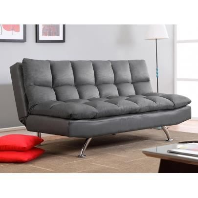 canap clic clac 3 places en microfibre didier gris achat vente canap sofa divan. Black Bedroom Furniture Sets. Home Design Ideas