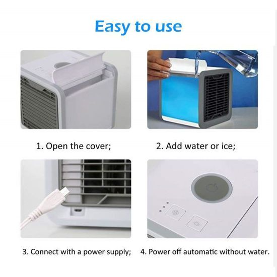purificateur dair pur de bureau et humidificateur pour la maison et le bureau Stecto Mini climatiseur 3 en 1 avec r/éservoir deau 300 ml