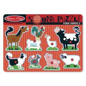 PUZZLE Animaux de la ferme son Puzzle - Puzzle Peg en boi