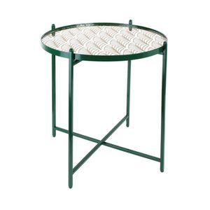 TABLE D'APPOINT Table d'appoint ronde avec plateau en verre à moti