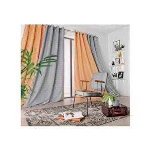Motif boh/ème Motif aquarelles Rideaux /à /œillets pour d/écoration de maison de fleurs Pour chambre /à coucher Rose violet//bleu