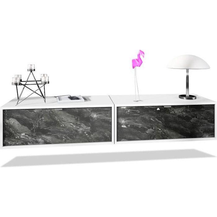 Ensemble de 2 set meuble TV Lana 80 armoire murale lowboard 80 x 29 x 37 cm, caisson en blanc mat, façades en Marbre Graphite