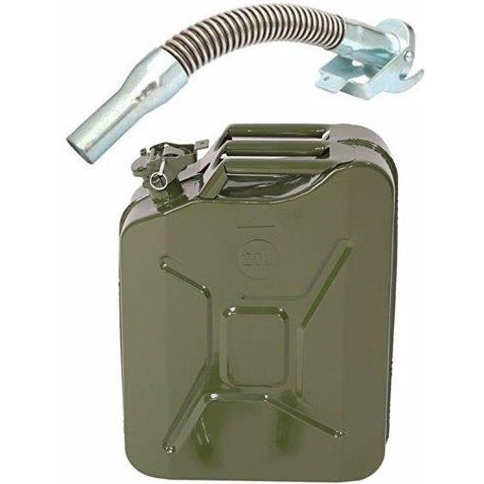 Jerricane en métal pour Essence et Diesel–20L–Olive–avec bec verseur 0.6 mm