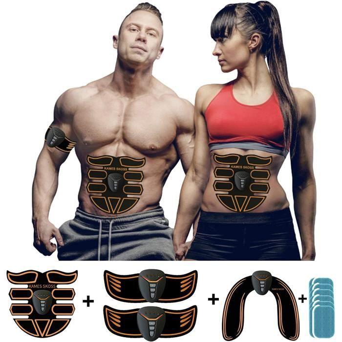 Appareil electrostimulation,Ceinture Abdominal Homme Femme, Kit Stimulateur Musculaire Bras + Cuisses + Jambes, Massage Muscles, Ap