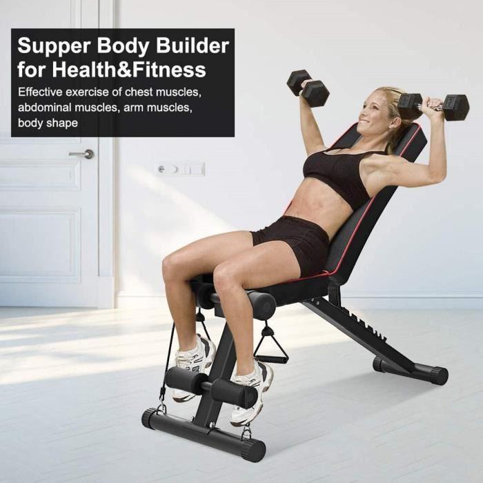 DOMICILE Banc de Musculation Pliable Banc de Poids Gymnastique Sit-up Fitness NOIR