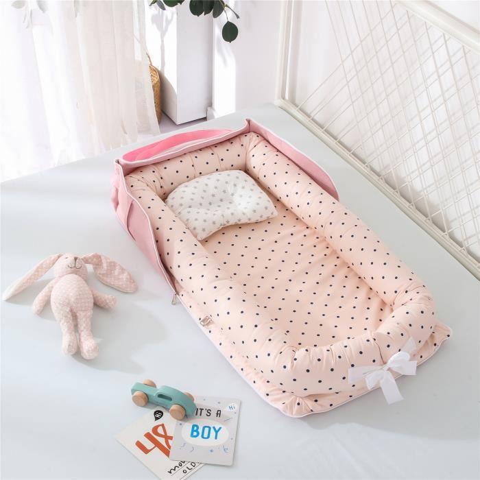 Lit Bébé Portable en Coton Reducteur de lit Pliable Nid pour nouveau-né nourrisson de voyage Lavable Berceau 0-2 Ans, Point d'onde R