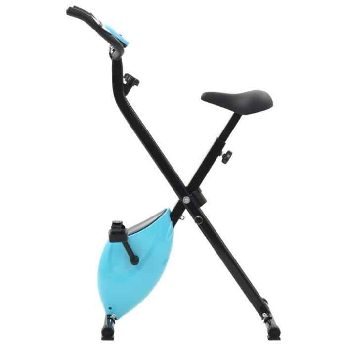 Vélo d'appartement magnétique avec mesure du pouls Noir et bleu