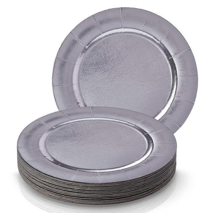 SOUS-ASSIETTES DE FÊTE JETABLES RONDES ASSORTIMENT 20 PCS - 20 sous-assiettes à dîner - Élégante finition métallisée argent - pou