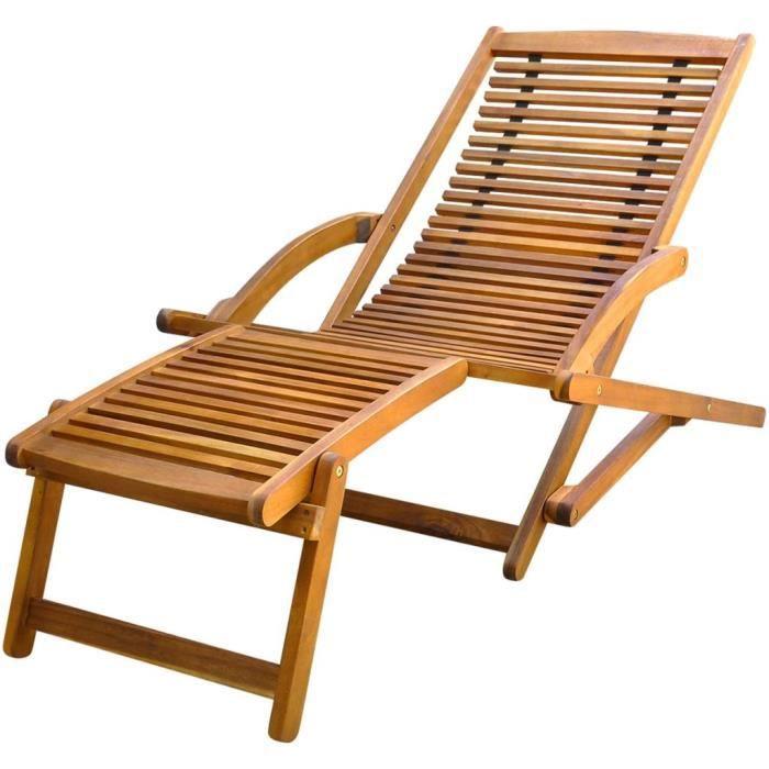 Chaise de terrasse - Chaise de Repose Longue Chaise Longue Transat de Jardin 150 x 70 x 69 cm- avec repose-pied Bois d'acacia solide