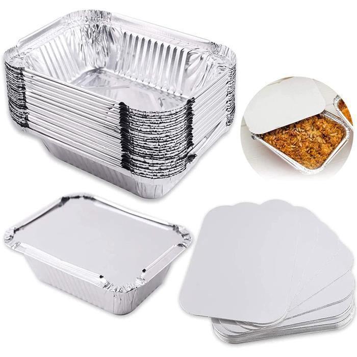 Plateau Aluminium avec Couvercle Barquettes Aluminium pour Transport de Nourriture Congélation Cuisson - Ultra Résistant Va au Four