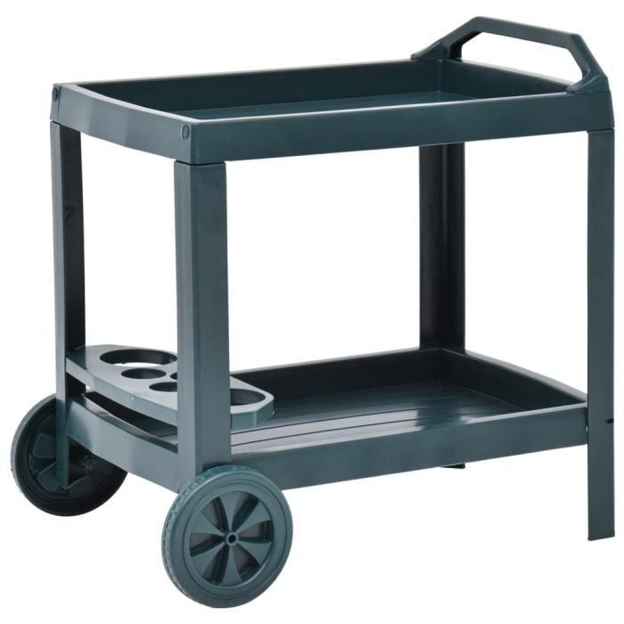 Haute qualité -Chariot à boissons Vert 69x53x72 cm Plastique #88457