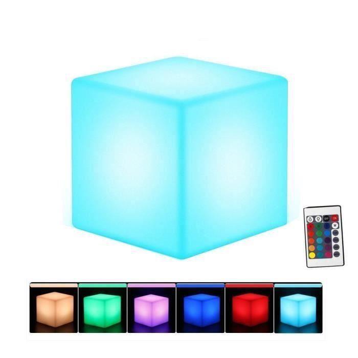 Cube Led Pouf Table Basse Tabouret 30cm Lumineux Multicolore + Télécommande-Interieur - Extérieur