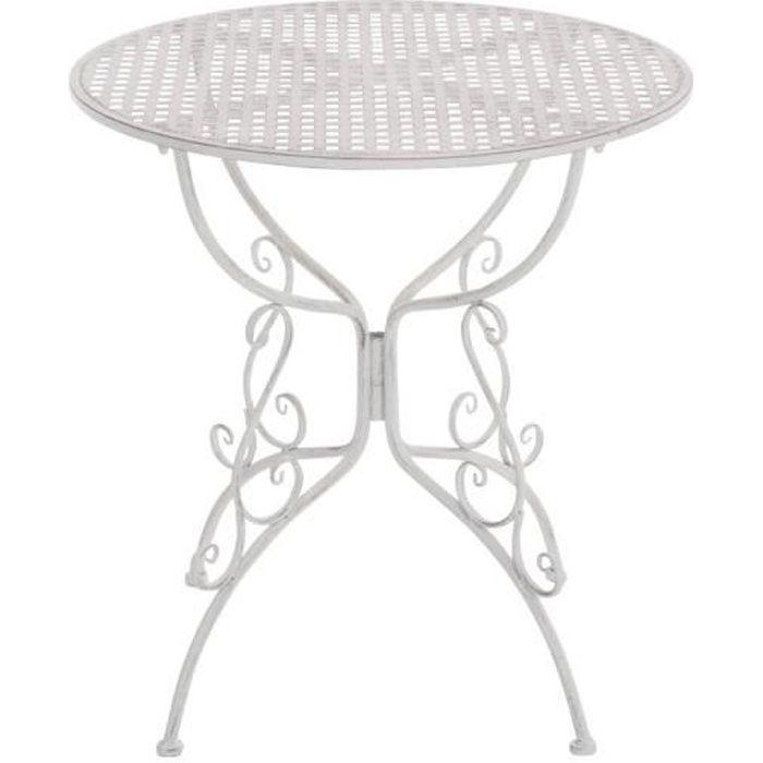 CLP Table de jardin ronde en fer forgé AMANDA, faite à la main dans un style nostalgique, diamètre Ø 70 cm, 6 couleurs au choix74...