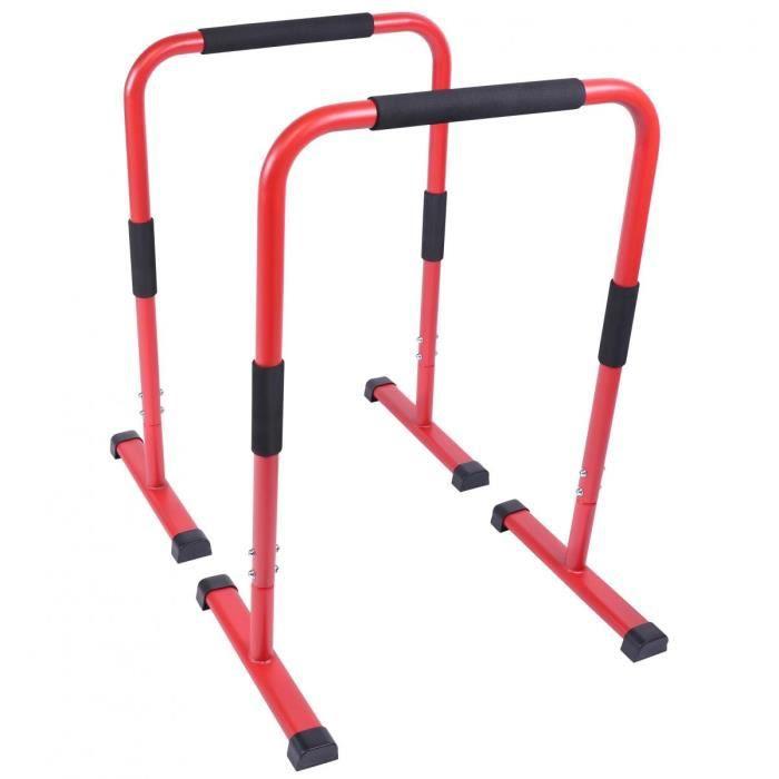 Barres parallèles Gorilla Sports - Hauteur: 94 cm - Coloris : rouge