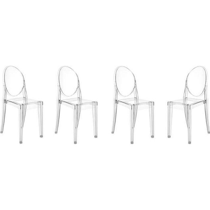 KARTELL Lot de 4 chaises Victoria Ghost - Transparent