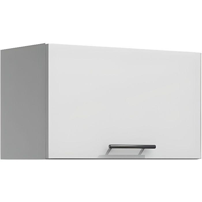 LILA - Meuble de cuisine hotte 60 cm 1 porte blanc
