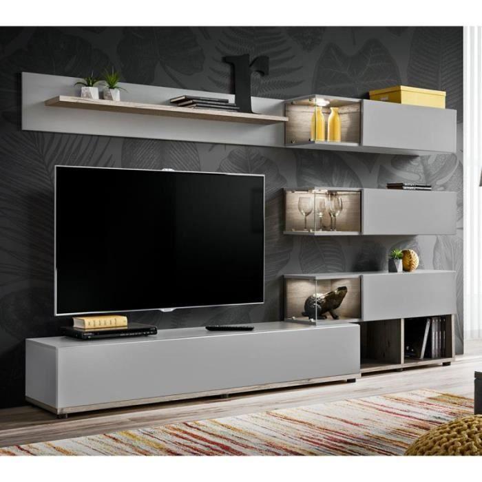 Ensemble Meuble Tv Design -silk- 240cm Gris & Naturel - Paris Prix