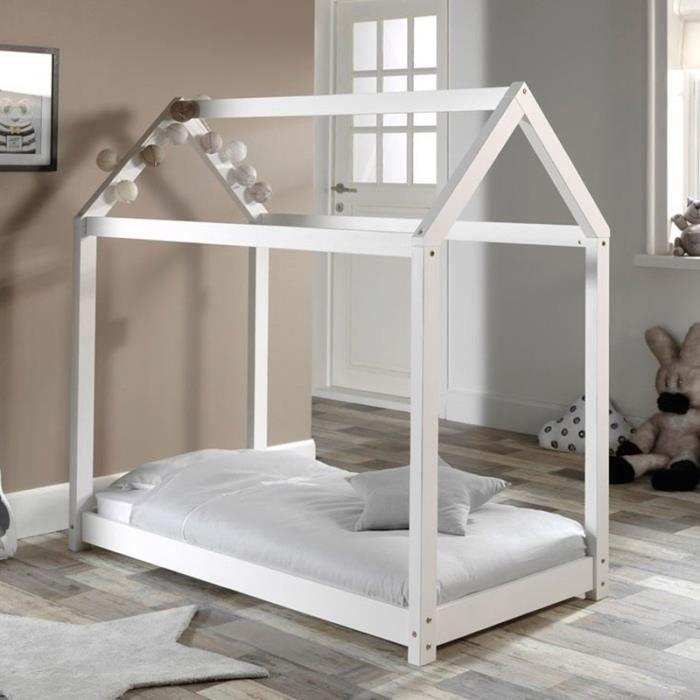 Lit Enfant Design -cabane- 70x140cm Blanc - Paris Prix