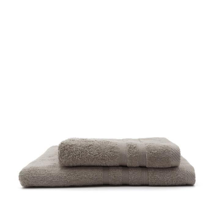 TODAY Lot de 1 Serviette de bain 50 x 100 cm + 1 Drap de bain 70 x 130 cm Mastic - 100% coton