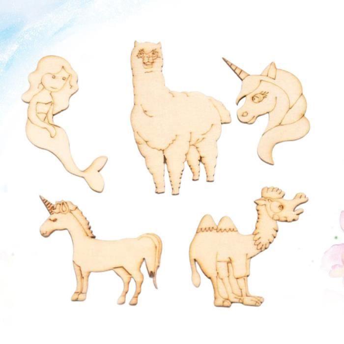 20pcs forme animale tranches en bois bricolage artisanat ornement sirène pièces en COFFRET SOMMELIER - COFFRET OENOLOGIE