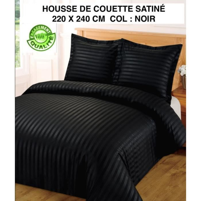 housse de couette satin a rayures noir 220 x 240 2 taies bon rapport qualit prix achat. Black Bedroom Furniture Sets. Home Design Ideas