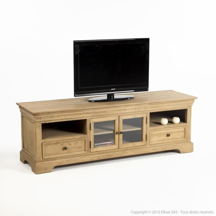 meuble tv bas en bois avec 2 portes 2 tiroirs longueur. Black Bedroom Furniture Sets. Home Design Ideas