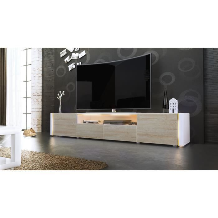 meuble tv blanc et bois brut sans led achat vente. Black Bedroom Furniture Sets. Home Design Ideas