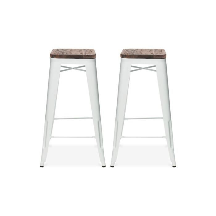 tabouret de bar design industriel harlem lot de 2 blanc. Black Bedroom Furniture Sets. Home Design Ideas