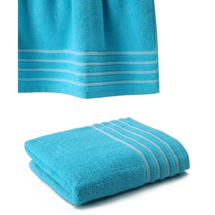 drap de bain 100x150 550gr turquoise blanc achat vente serviettes de bain cdiscount. Black Bedroom Furniture Sets. Home Design Ideas