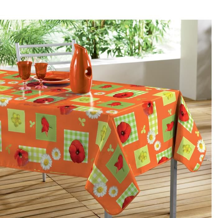 nappe pvc 240 x 140 cm champetre orange achat vente nappe de table cdiscount. Black Bedroom Furniture Sets. Home Design Ideas