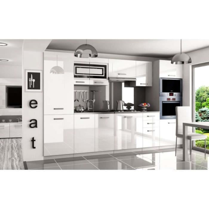 Justhome Syntka Pro Cuisine Equipee Complete 300 Cm Couleur Blanc