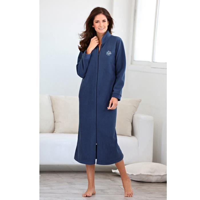 Robe De Chambre Polaire Longue Femme Bleu Achat Vente Pyjama Cdiscount