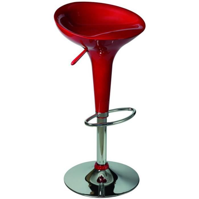 Tabouret de bar rouge assise en plastique x x ht de 560 790 - Tabouret de bar plastique ...