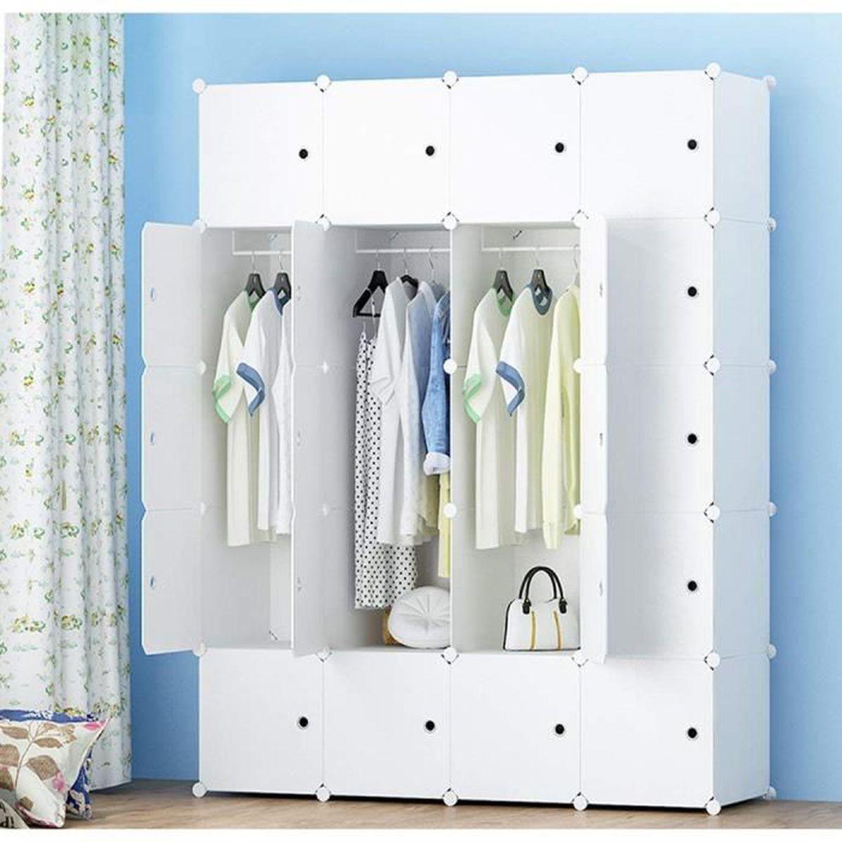 Armoire De Chambre Avec Penderie armoire penderie portable storage modulable meuble Étagères