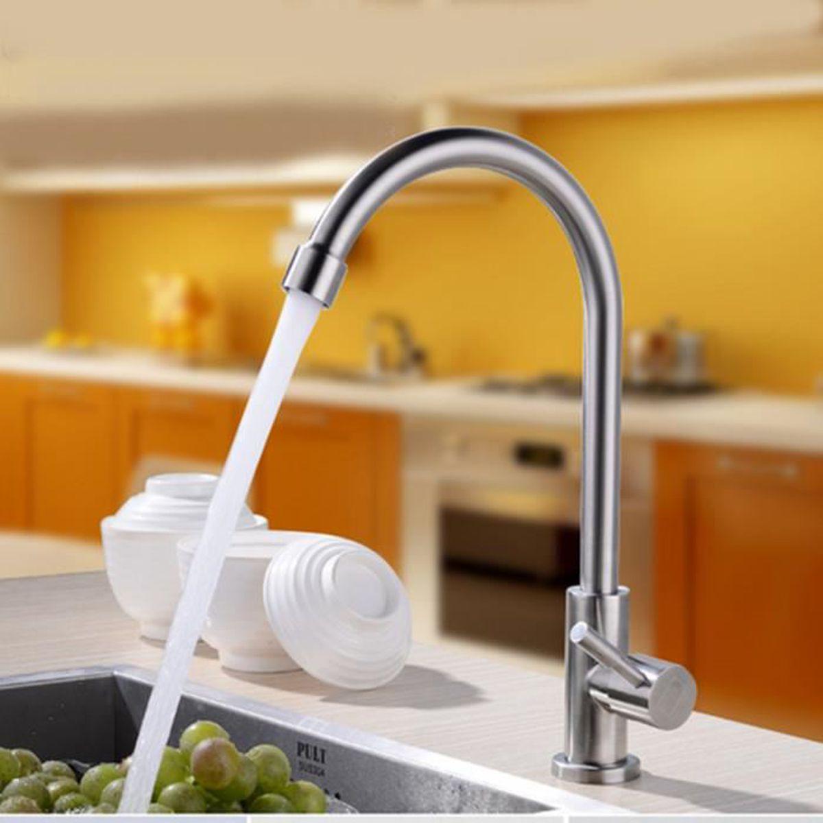Robinet d/évier de cuisine pivotant /à 360/° moderne chaud et froid en laiton avec poign/ée unique en laiton antique robinet de cuisine /à installation facile