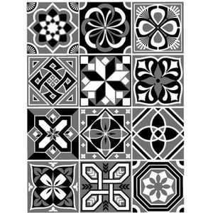 STICKERS Stickers Carreaux de Ciment - MOSICBLACK - 12 pièc