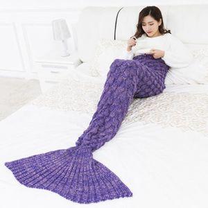 COUVERTURE - PLAID couverture sirène tricoté à la main enveloppement