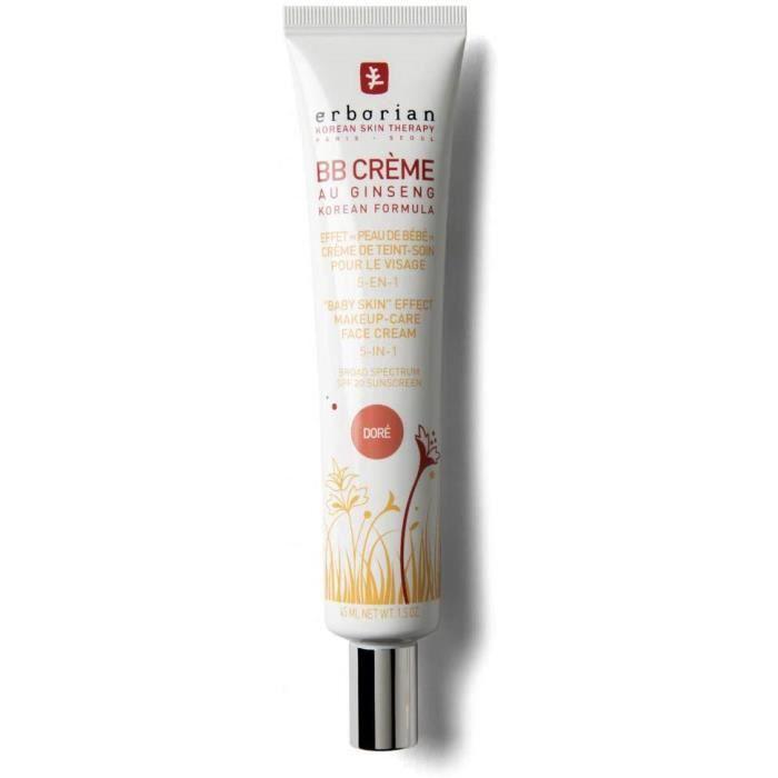 Erborian - BB Crème au Ginseng - Teinte Dorée - Soin 5-en-1 pour le Visage, Effet -Peau de Bébé- - SPF 20 - Soin du Visage Coréen -