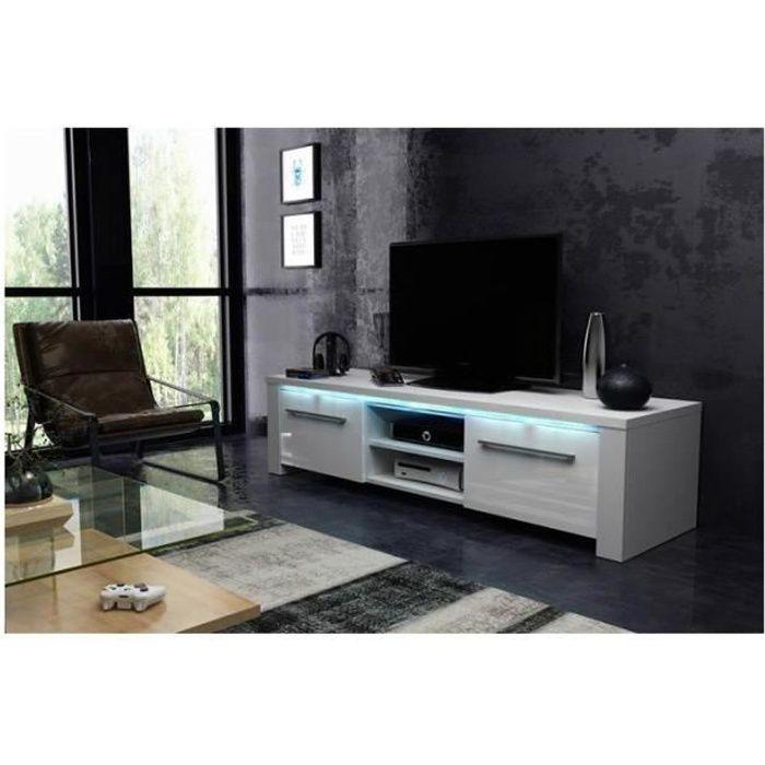 Meuble TV design MANHATTAN 140 cm à 2 portes & 2 niches coloris blanc mat et blanc brillant + led Blanc